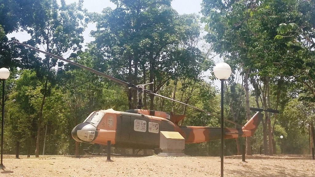 Vietnam War -helicopter sits outside the Vietnam Veterans Museum near Kanchanaburi Thailand