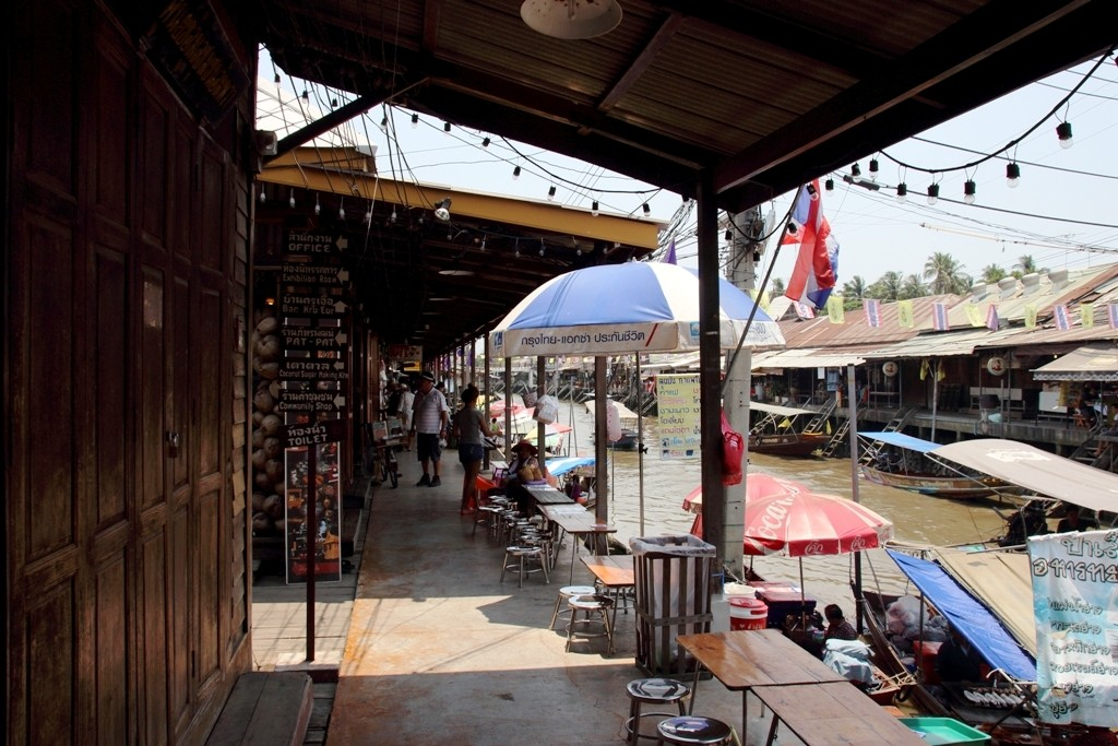 The walkway showing shops on both sides of canal