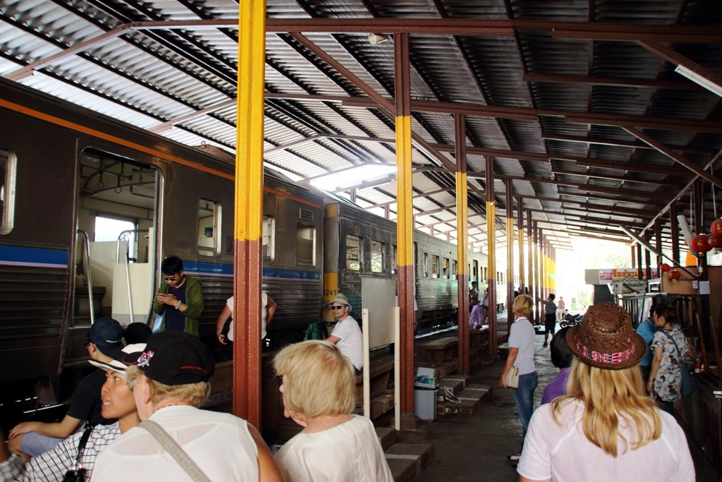 Boarding the train at Maeklong Railway Station