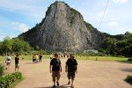Chatting with tour guest. Buddha Mountain Pattaya Thailand