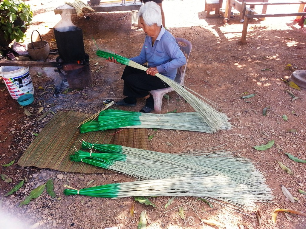 Image showing dyeing papyrus reeds . One end is dyed green