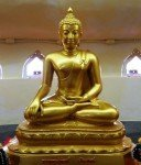 Golden Buddha statue inside Black Buddha Phetchabura Buddha Park 04