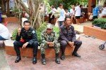 Isan Region Thailand security at temple for the birthday party of the head monk