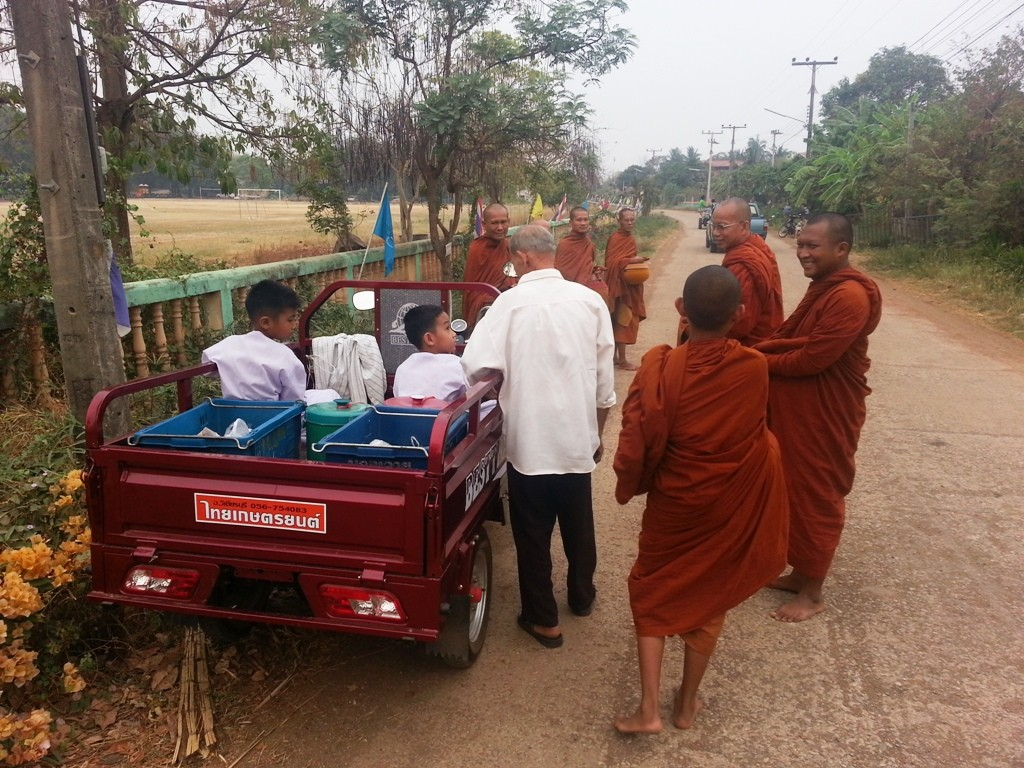 Image showing motorised Tricycle used to carry for Buddhist Monks