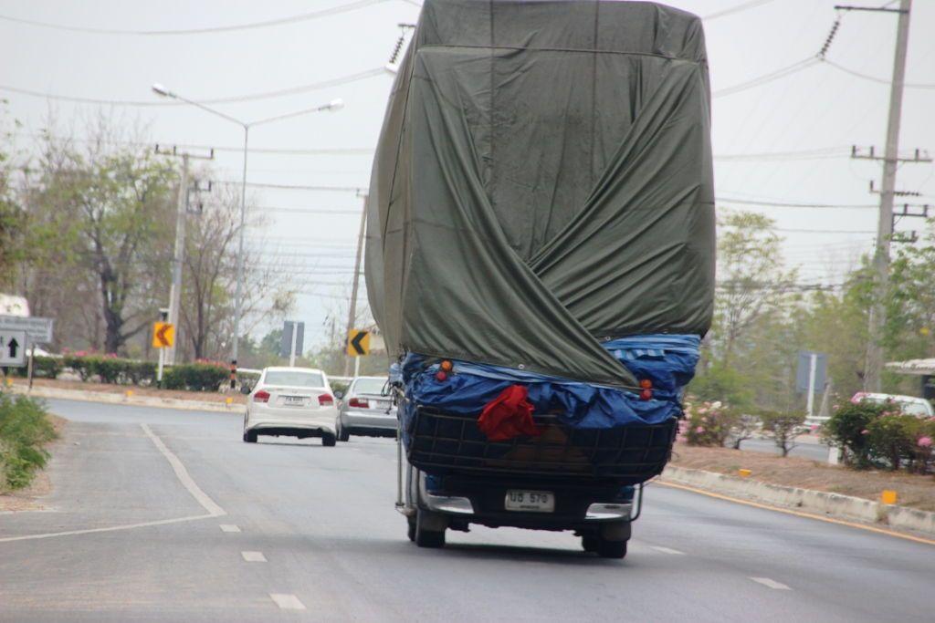 Overloaded Toyota Hilux high load tarped