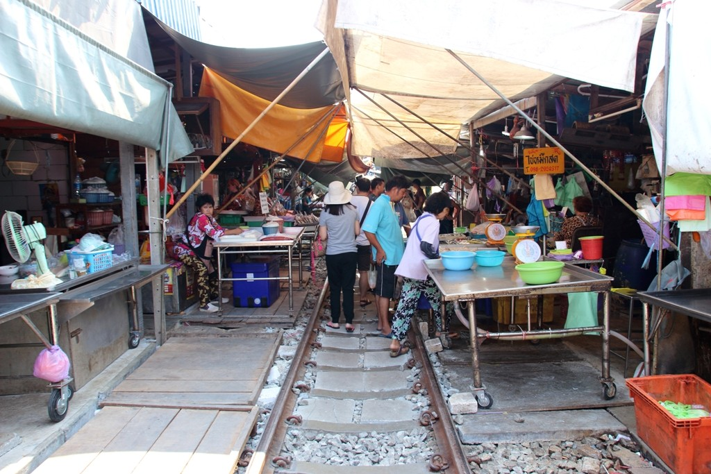 Produce on trollies at Maeklong Railway Market