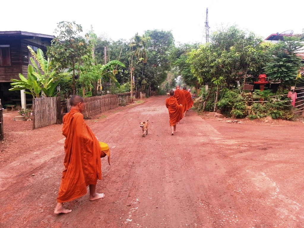 Showing young monk hesitating when walking on the gravel