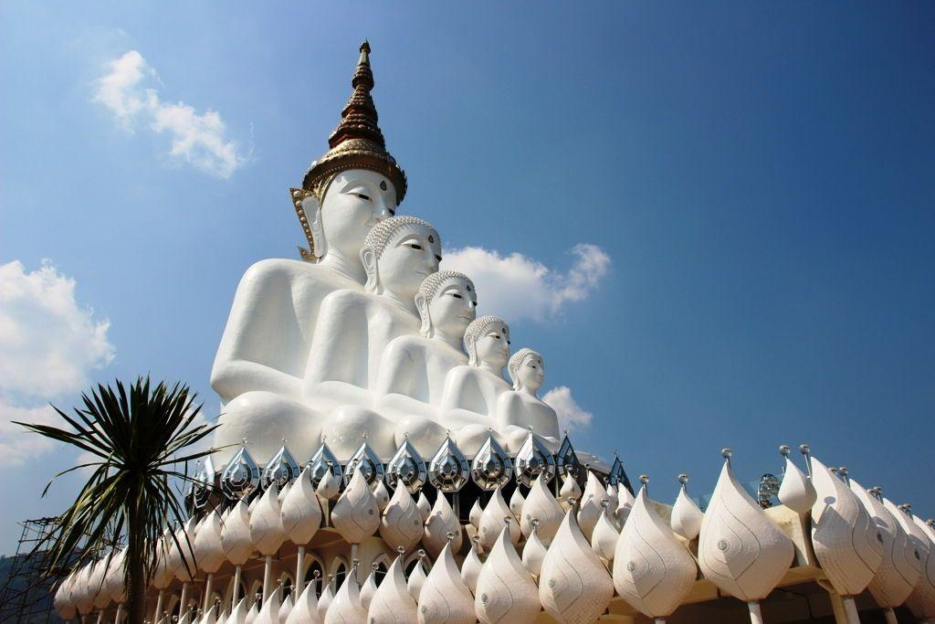 White Buddha Family statue at Wat Pha Sorn Kaew Phetchabun