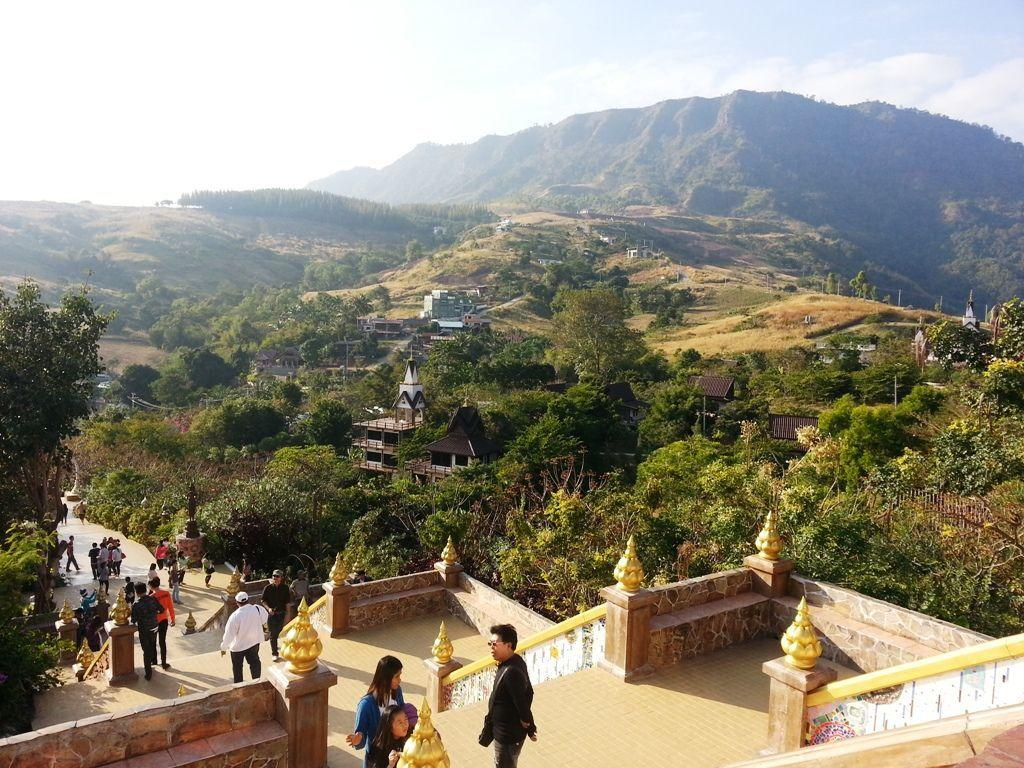 Mountain views from the top of the steps at Wat Pha Sorn Kaew