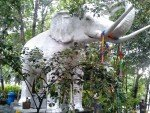 A white elephant statue in the gardens of Wat Tub Berk Phetchabun Northern Thailand