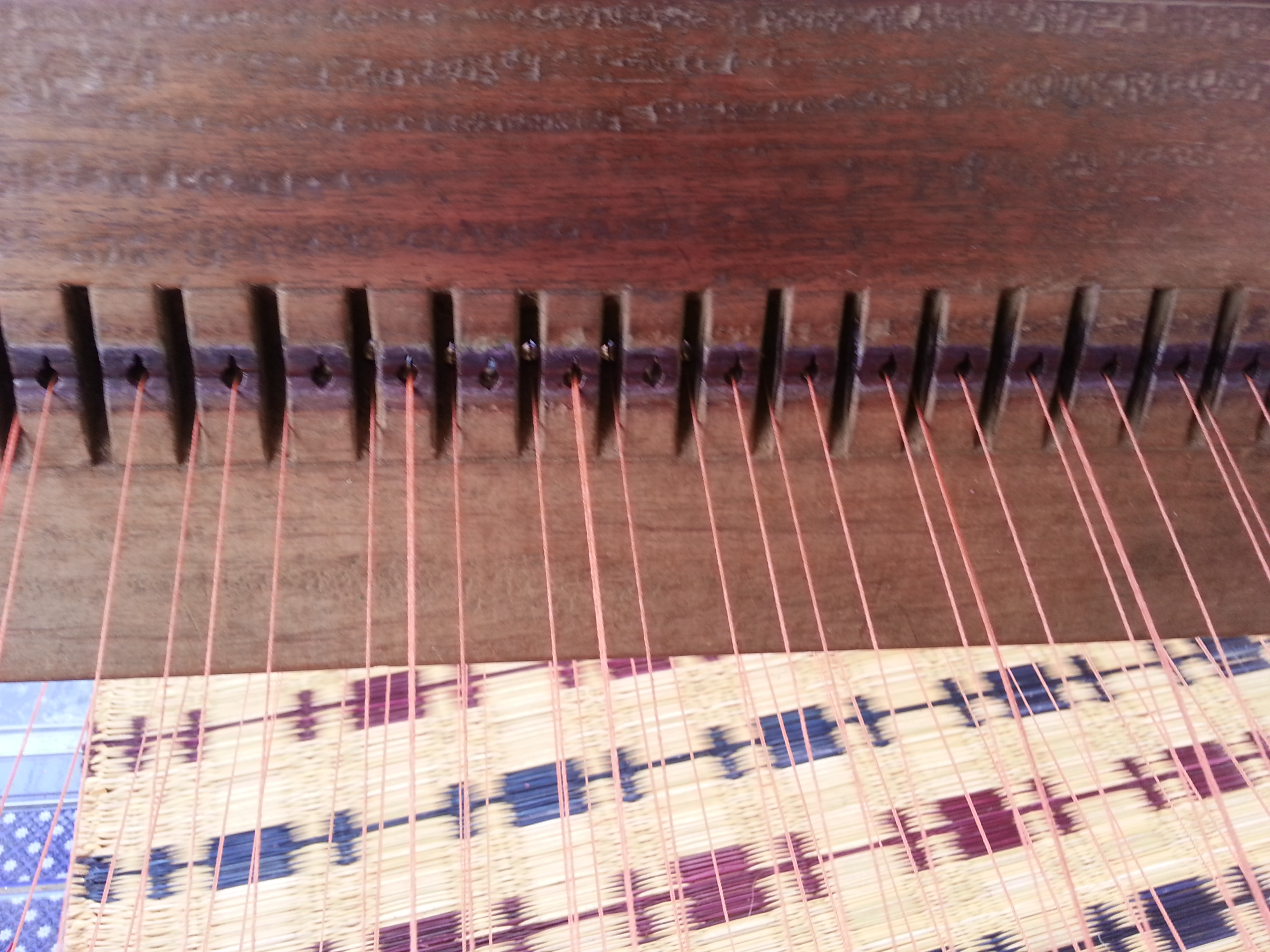 Weaving loom close up view