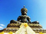 Looking up at the Black Buddha statue at Phetchabura Buddha Park near Phetchabun Thailand